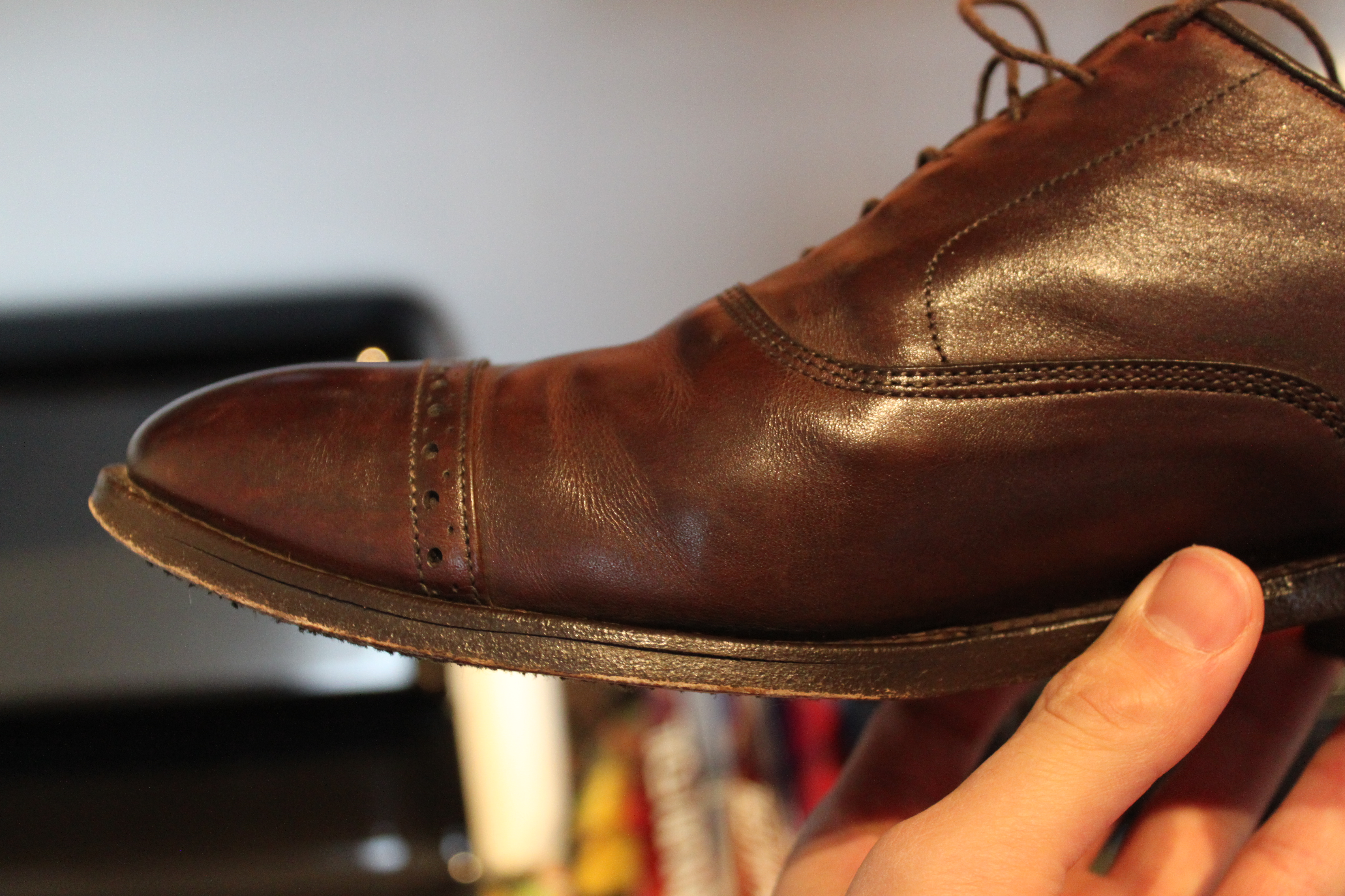 Brown Leather Shoes Water Damage